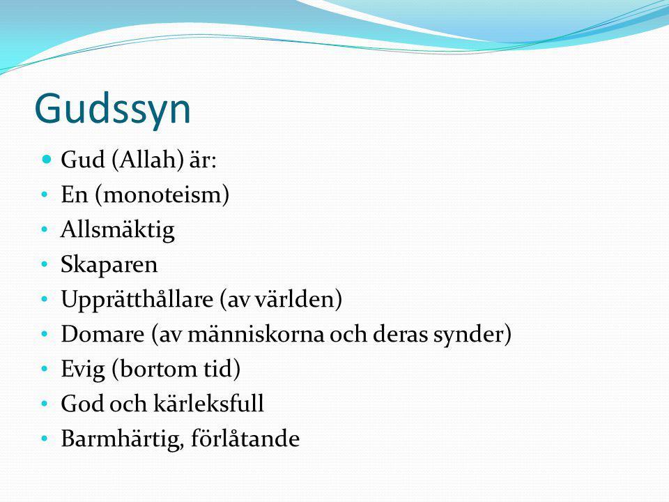Gudssyn Gud (Allah) är: En (monoteism) Allsmäktig Skaparen Upprätthållare (av världen) Domare (av människorna och deras synder) Evig (bortom tid) God