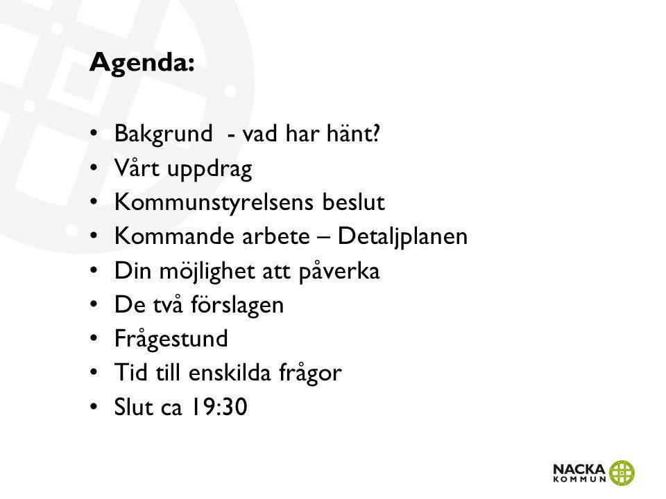 Agenda: Bakgrund - vad har hänt? Vårt uppdrag Kommunstyrelsens beslut Kommande arbete – Detaljplanen Din möjlighet att påverka De två förslagen Fråges