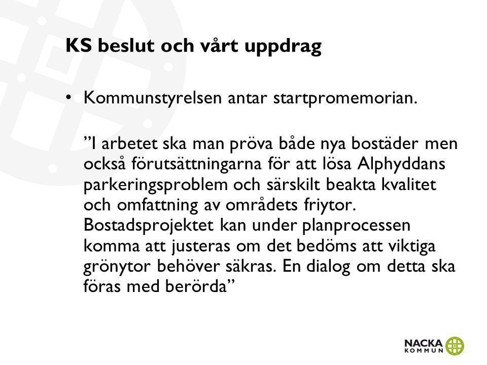 """KS beslut och vårt uppdrag Kommunstyrelsen antar startpromemorian. """"I arbetet ska man pröva både nya bostäder men också förutsättningarna för att lösa"""