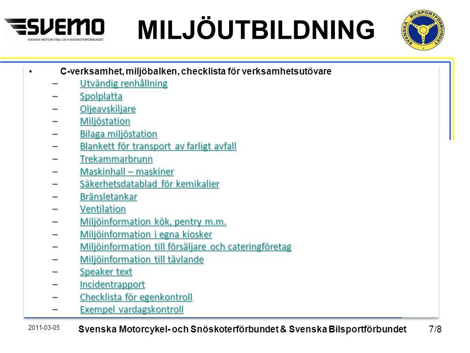 MILJÖUTBILDNING Vi som jobbar med miljön lyfter och framtidsäkrar svensk motorsport framåt för en renare idrott!Vi som jobbar med miljön lyfter och framtidsäkrar svensk motorsport framåt för en renare idrott.