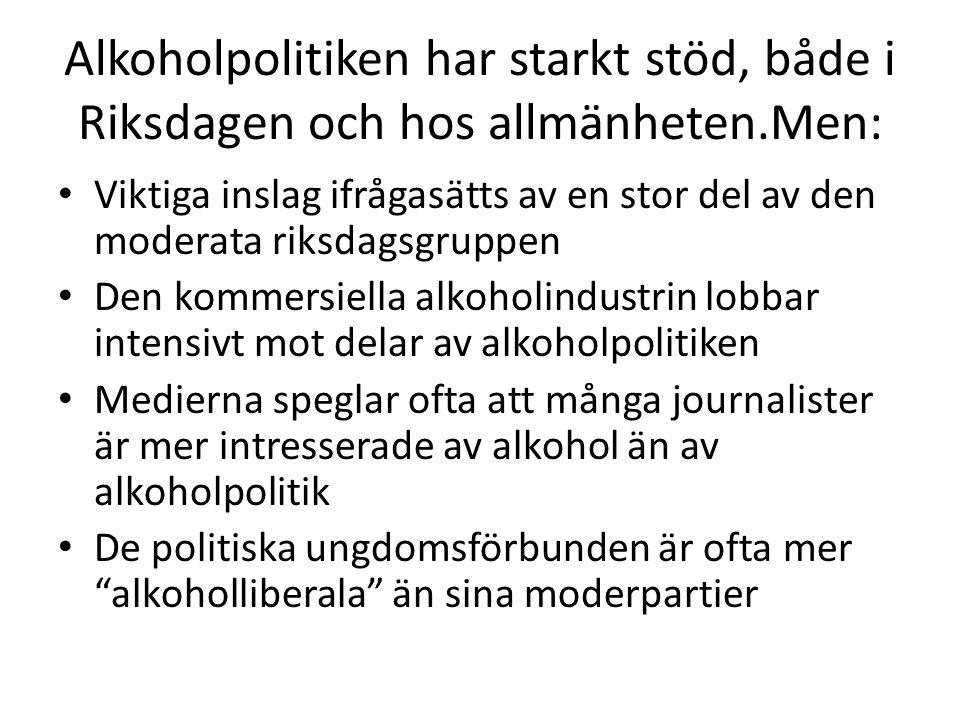 Alkoholpolitiken har starkt stöd, både i Riksdagen och hos allmänheten.Men: Viktiga inslag ifrågasätts av en stor del av den moderata riksdagsgruppen Den kommersiella alkoholindustrin lobbar intensivt mot delar av alkoholpolitiken Medierna speglar ofta att många journalister är mer intresserade av alkohol än av alkoholpolitik De politiska ungdomsförbunden är ofta mer alkoholliberala än sina moderpartier