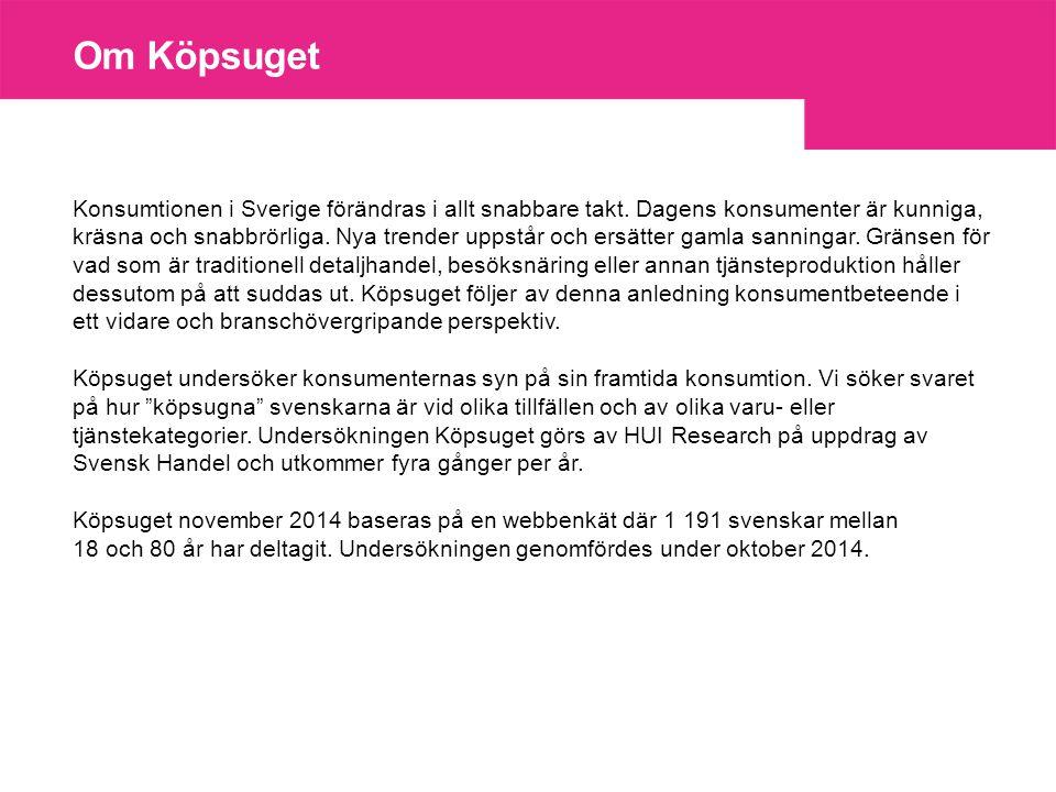 Om Köpsuget Konsumtionen i Sverige förändras i allt snabbare takt.