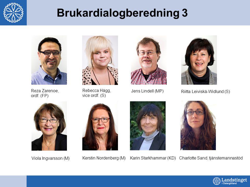 Brukardialogberedning 3 Reza Zarenoe, ordf. (FP) Rebecca Hägg, vice ordf. (S) Jens Lindell (MP) Riitta Leiviskä-Widlund (S) Viola Ingvarsson (M) Kerst