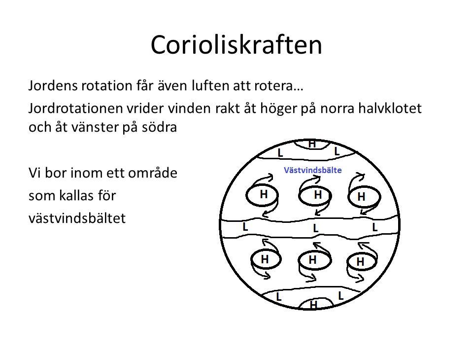 Corioliskraften Jordens rotation får även luften att rotera… Jordrotationen vrider vinden rakt åt höger på norra halvklotet och åt vänster på södra Vi bor inom ett område som kallas för västvindsbältet
