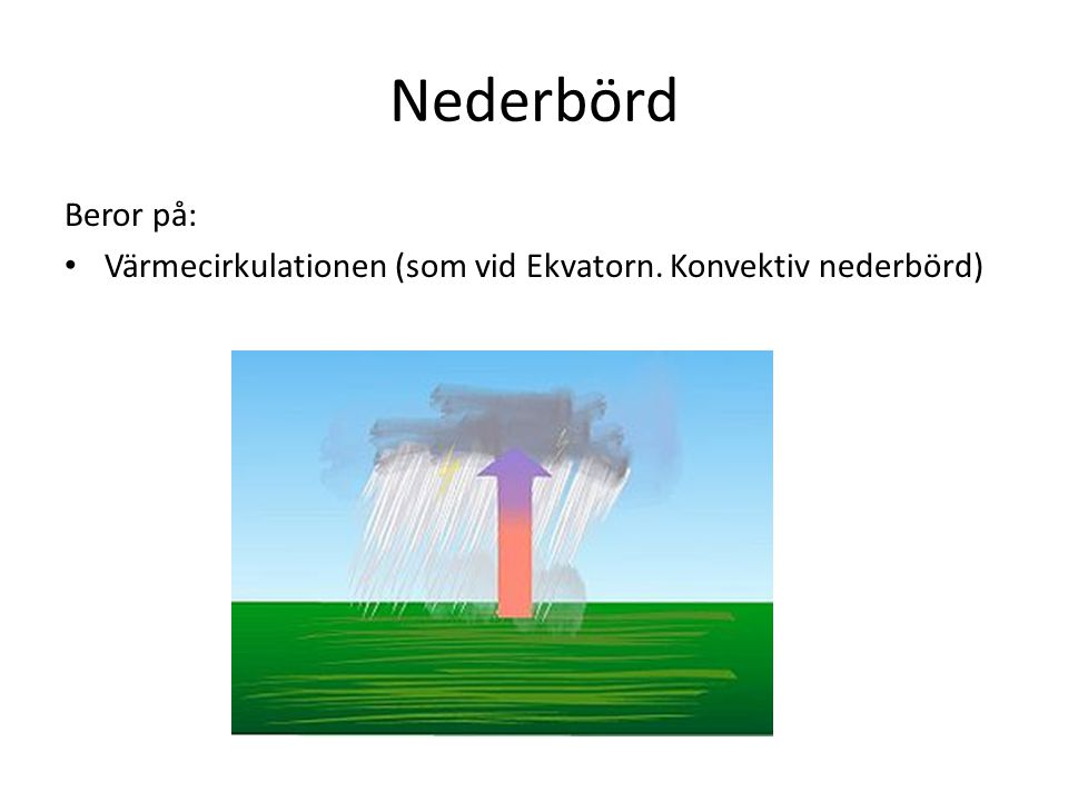 Nederbörd Beror på: Värmecirkulationen (som vid Ekvatorn. Konvektiv nederbörd)
