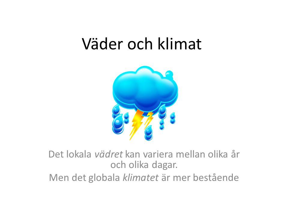Det lokala vädret kan variera mellan olika år och olika dagar.
