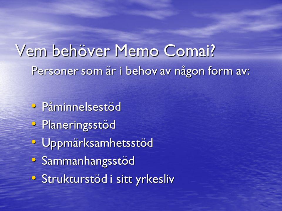 Vem behöver Memo Comai? Personer som är i behov av någon form av: Påminnelsestöd Påminnelsestöd Planeringsstöd Planeringsstöd Uppmärksamhetsstöd Uppmä