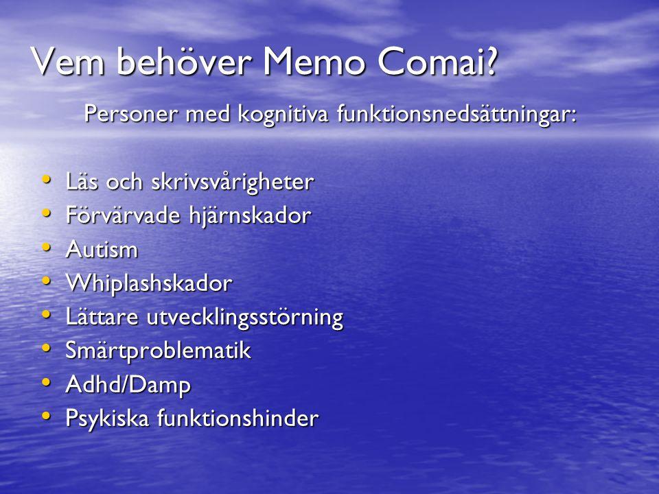 Vem behöver Memo Comai? Personer med kognitiva funktionsnedsättningar: Läs och skrivsvårigheter Läs och skrivsvårigheter Förvärvade hjärnskador Förvär