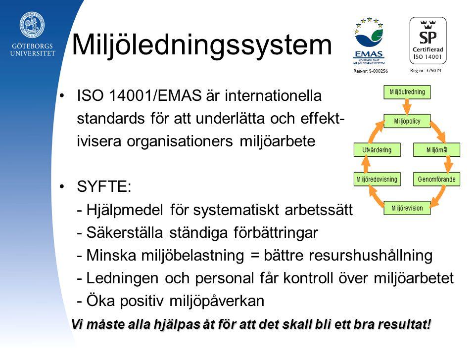 Miljöledningssystem ISO 14001/EMAS är internationella standards för att underlätta och effekt- ivisera organisationers miljöarbete SYFTE: - Hjälpmedel för systematiskt arbetssätt - Säkerställa ständiga förbättringar - Minska miljöbelastning = bättre resurshushållning - Ledningen och personal får kontroll över miljöarbetet - Öka positiv miljöpåverkan Vi måste alla hjälpas åt för att det skall bli ett bra resultat!