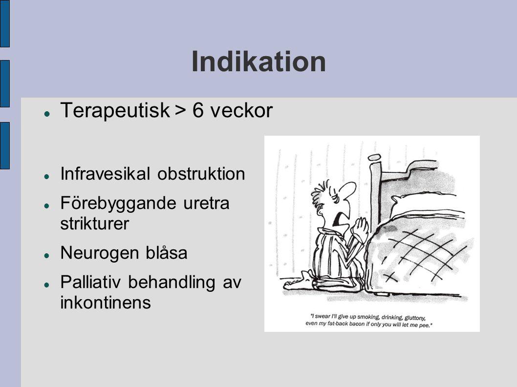 Terapeutisk > 6 veckor Infravesikal obstruktion Förebyggande uretra strikturer Neurogen blåsa Palliativ behandling av inkontinens Indikation