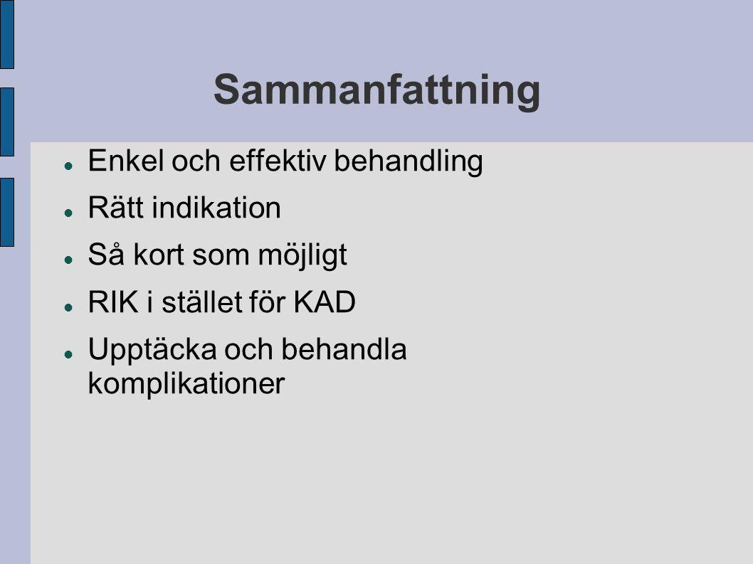 Sammanfattning Enkel och effektiv behandling Rätt indikation Så kort som möjligt RIK i stället för KAD Upptäcka och behandla komplikationer