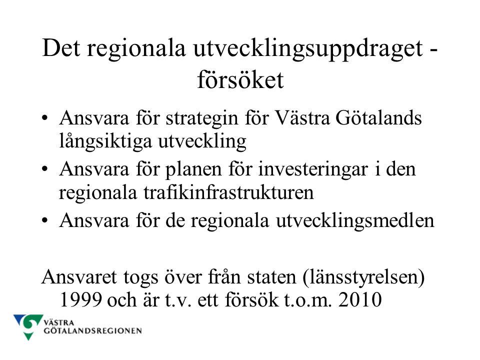 Det regionala utvecklingsuppdraget - försöket Ansvara för strategin för Västra Götalands långsiktiga utveckling Ansvara för planen för investeringar i