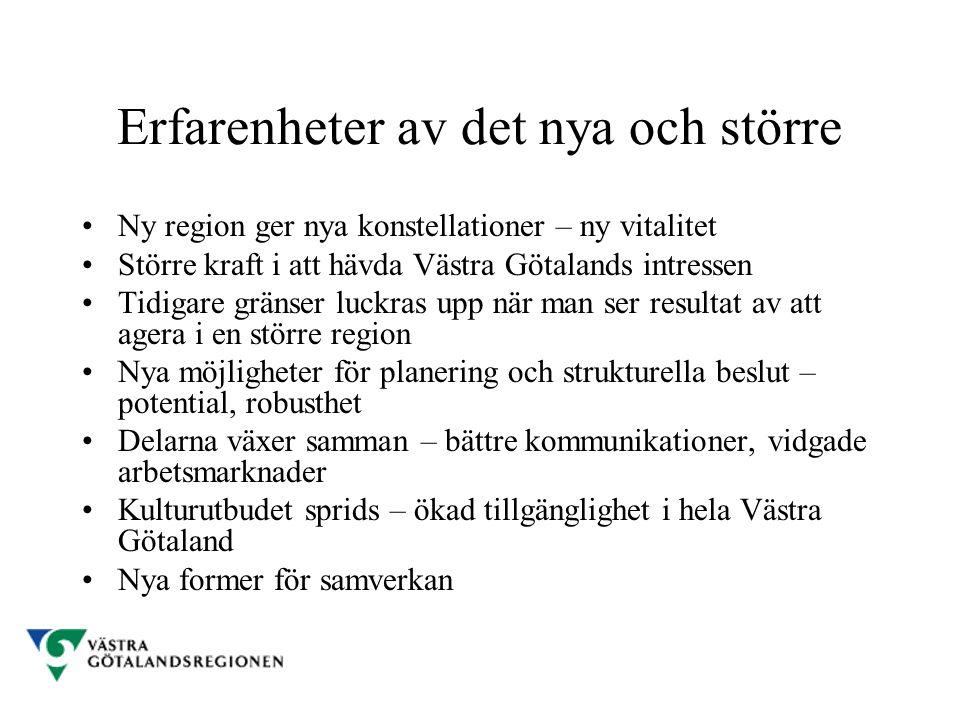 Erfarenheter av det nya och större Ny region ger nya konstellationer – ny vitalitet Större kraft i att hävda Västra Götalands intressen Tidigare gräns