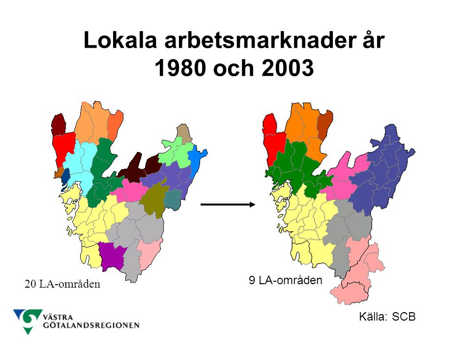 Lokala arbetsmarknader år 1980 och 2003 Källa: SCB 20 LA-områden 9 LA-områden