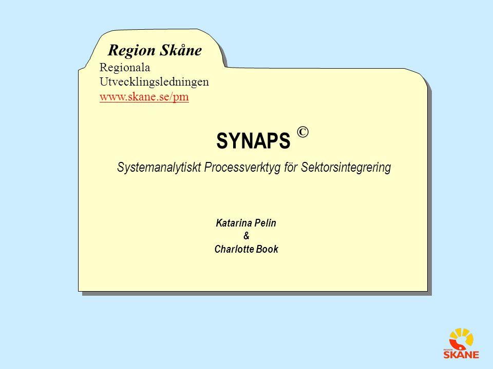 SYNAPS Systemanalytiskt Processverktyg för Sektorsintegrering SYNAPS Systemanalytiskt Processverktyg för Sektorsintegrering Region Skåne Regionala Utvecklingsledningen www.skane.se/pm © Katarina Pelin & Charlotte Book