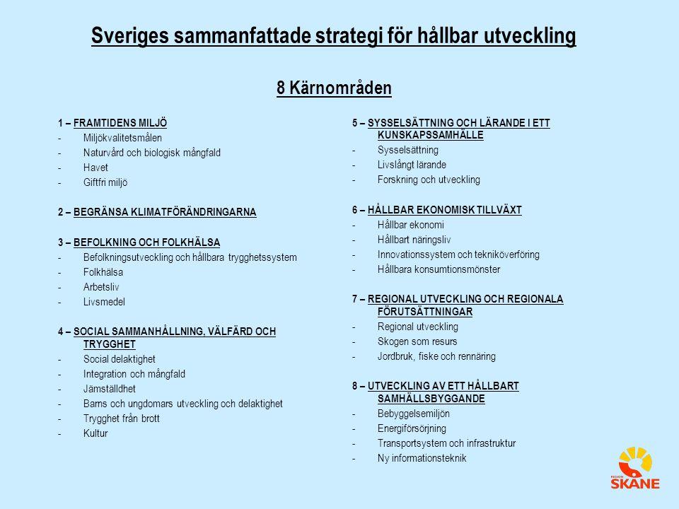 Sveriges sammanfattade strategi för hållbar utveckling 8 Kärnområden 1 – FRAMTIDENS MILJÖ -Miljökvalitetsmålen -Naturvård och biologisk mångfald -Havet -Giftfri miljö 2 – BEGRÄNSA KLIMATFÖRÄNDRINGARNA 3 – BEFOLKNING OCH FOLKHÄLSA -Befolkningsutveckling och hållbara trygghetssystem -Folkhälsa -Arbetsliv -Livsmedel 4 – SOCIAL SAMMANHÅLLNING, VÄLFÄRD OCH TRYGGHET -Social delaktighet -Integration och mångfald -Jämställdhet -Barns och ungdomars utveckling och delaktighet -Trygghet från brott -Kultur 5 – SYSSELSÄTTNING OCH LÄRANDE I ETT KUNSKAPSSAMHÄLLE -Sysselsättning -Livslångt lärande -Forskning och utveckling 6 – HÅLLBAR EKONOMISK TILLVÄXT -Hållbar ekonomi -Hållbart näringsliv -Innovationssystem och tekniköverföring -Hållbara konsumtionsmönster 7 – REGIONAL UTVECKLING OCH REGIONALA FÖRUTSÄTTNINGAR -Regional utveckling -Skogen som resurs -Jordbruk, fiske och rennäring 8 – UTVECKLING AV ETT HÅLLBART SAMHÄLLSBYGGANDE -Bebyggelsemiljön -Energiförsörjning -Transportsystem och infrastruktur -Ny informationsteknik