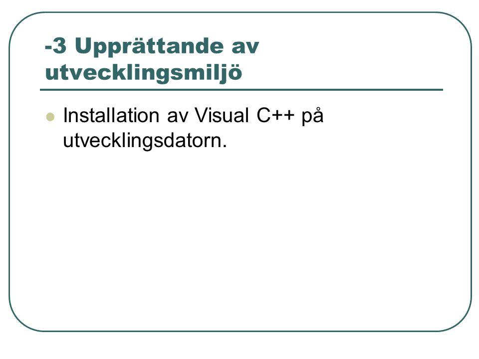 -3 Upprättande av utvecklingsmiljö Installation av Visual C++ på utvecklingsdatorn.