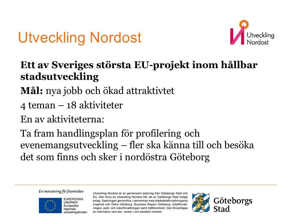 Ett av Sveriges största EU-projekt inom hållbar stadsutveckling Mål: nya jobb och ökad attraktivtet 4 teman – 18 aktiviteter En av aktiviteterna: Ta fram handlingsplan för profilering och evenemangsutveckling – fler ska känna till och besöka det som finns och sker i nordöstra Göteborg