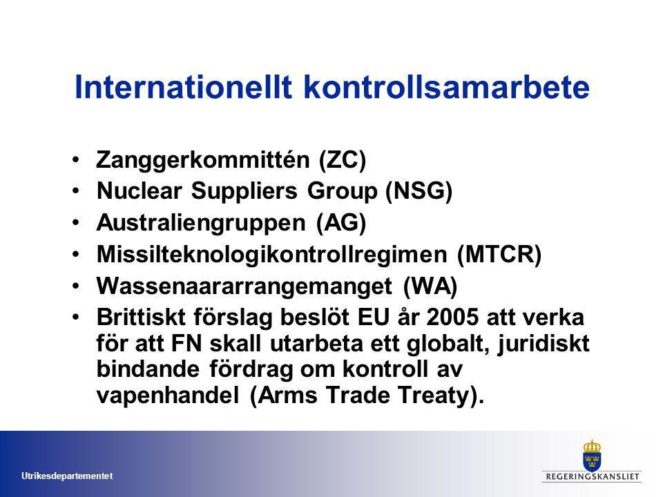 Utrikesdepartementet Internationellt kontrollsamarbete Zanggerkommittén (ZC) Nuclear Suppliers Group (NSG) Australiengruppen (AG) Missilteknologikontrollregimen (MTCR) Wassenaararrangemanget (WA) Brittiskt förslag beslöt EU år 2005 att verka för att FN skall utarbeta ett globalt, juridiskt bindande fördrag om kontroll av vapenhandel (Arms Trade Treaty).
