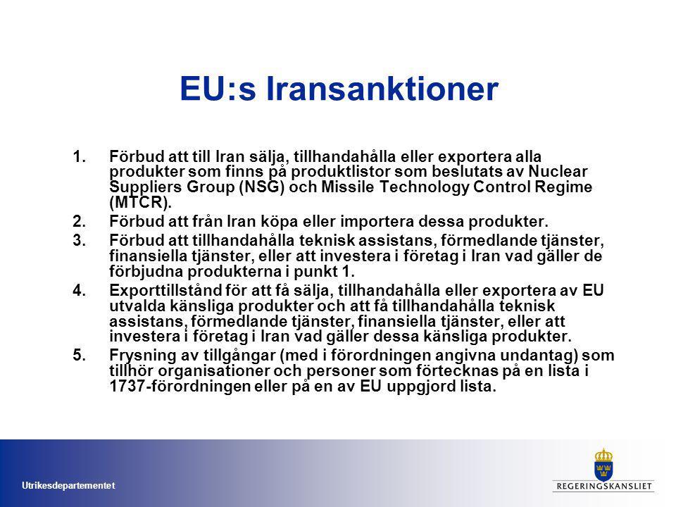 Utrikesdepartementet Implementeringen i Sverige Ny lagstiftning –komplicerad –barriärer Samarbete mellan myndigheter Etablerat –Tullverket, SÄPO, MUST, FRA, FOI, SKI och ISP Nya –FI, universiteten,
