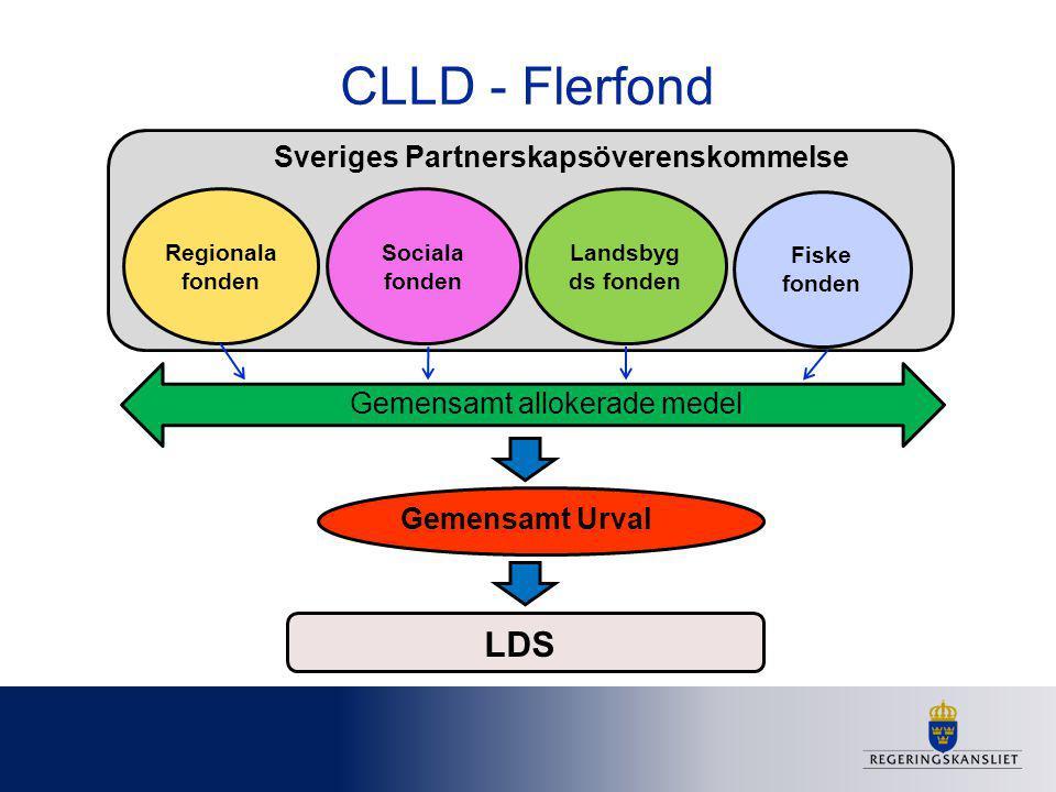 CLLD - Flerfond Regionala fonden Sociala fonden Landsbyg ds fonden Fiske fonden Sveriges Partnerskapsöverenskommelse Gemensamt allokerade medel Gemens