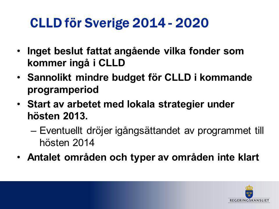 CLLD för Sverige 2014 - 2020 Inget beslut fattat angående vilka fonder som kommer ingå i CLLD Sannolikt mindre budget för CLLD i kommande programperio