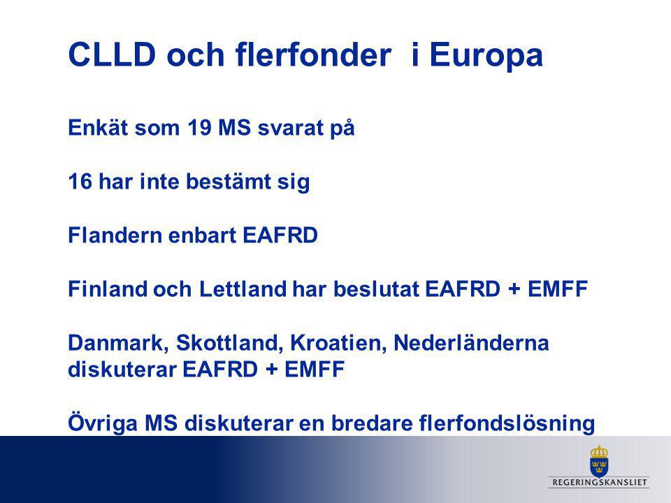 CLLD och flerfonder i Europa Enkät som 19 MS svarat på 16 har inte bestämt sig Flandern enbart EAFRD Finland och Lettland har beslutat EAFRD + EMFF Da