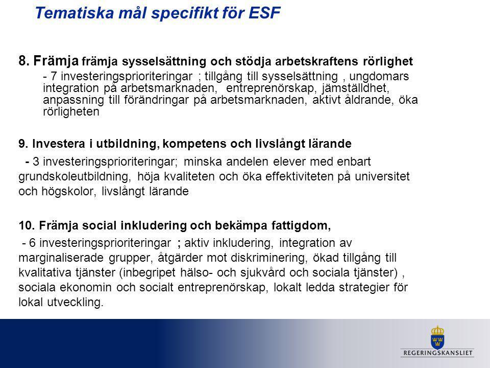 Tematiska mål specifikt för ESF 8. Främja främja sysselsättning och stödja arbetskraftens rörlighet - 7 investeringsprioriteringar ; tillgång till sys