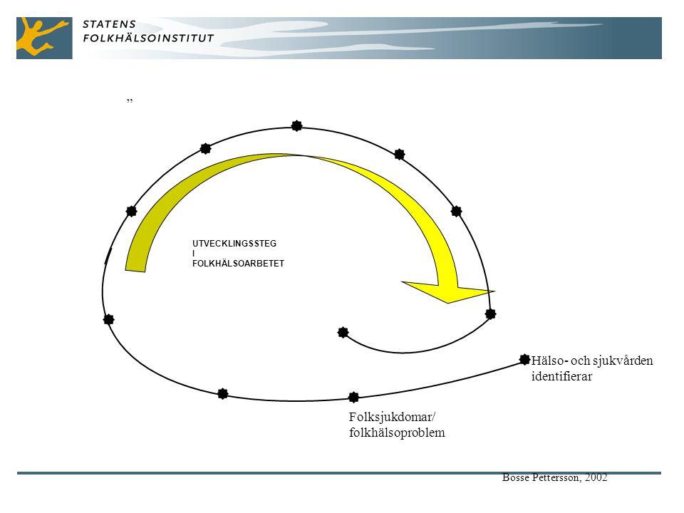 Hälso- och sjukvården identifierar Folksjukdomar/ folkhälsoproblem Bosse Pettersson, 2002 UTVECKLINGSSTEG I FOLKHÄLSOARBETET
