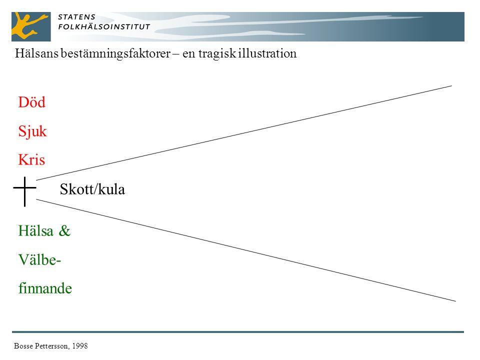 Död Sjuk Kris Hälsa & Välbe- finnande Hälsans bestämningsfaktorer – en tragisk illustration Bosse Pettersson, 1998 Skott/kula