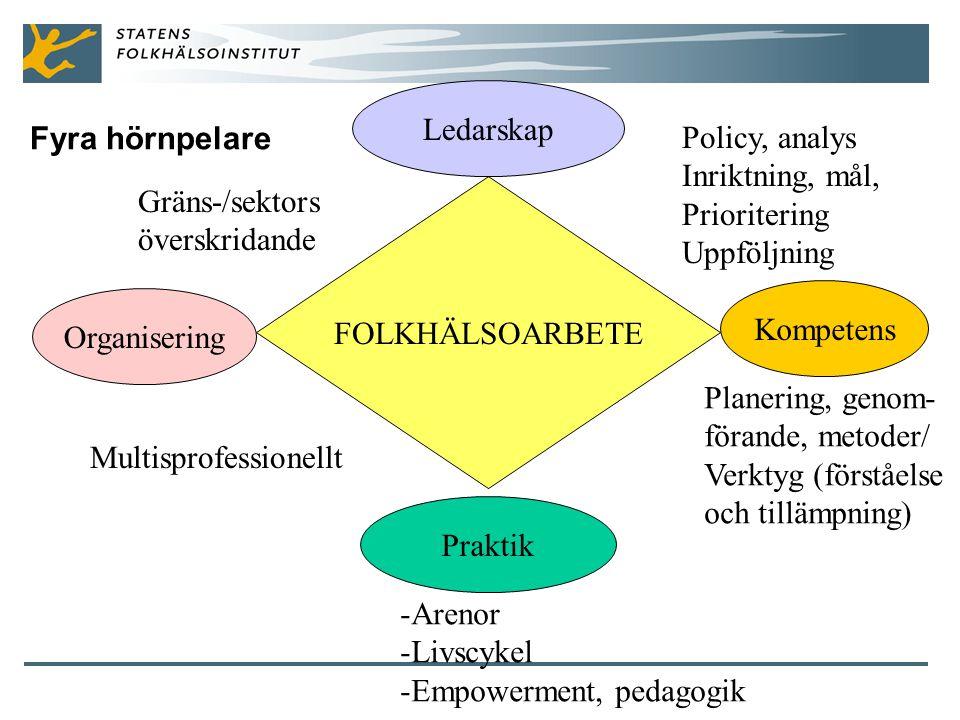 Fyra hörnpelare FOLKHÄLSOARBETE Ledarskap Organisering Praktik Kompetens Gräns-/sektors överskridande Policy, analys Inriktning, mål, Prioritering Uppföljning -Arenor -Livscykel -Empowerment, pedagogik Planering, genom- förande, metoder/ Verktyg (förståelse och tillämpning) Multisprofessionellt
