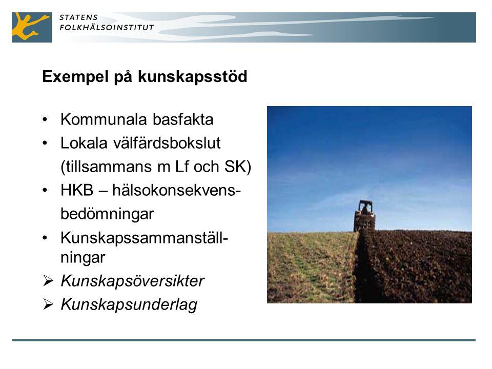 Exempel på kunskapsstöd Kommunala basfakta Lokala välfärdsbokslut (tillsammans m Lf och SK) HKB – hälsokonsekvens- bedömningar Kunskapssammanställ- ningar  Kunskapsöversikter  Kunskapsunderlag