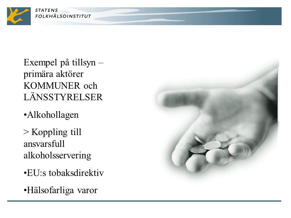 Exempel på tillsyn – primära aktörer KOMMUNER och LÄNSSTYRELSER Alkohollagen > Koppling till ansvarsfull alkoholsservering EU:s tobaksdirektiv Hälsofarliga varor