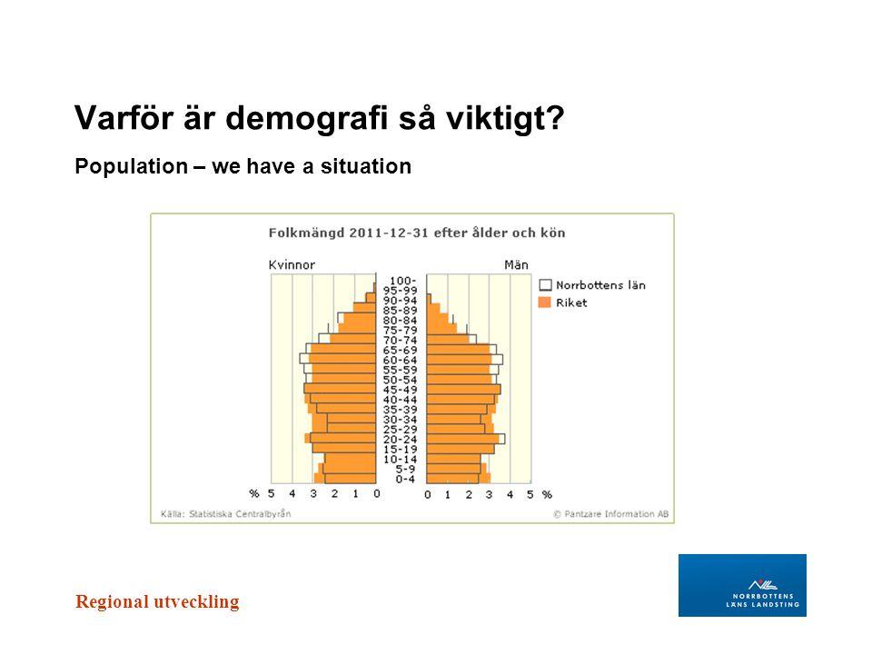 Regional utveckling Varför är demografi så viktigt? Population – we have a situation