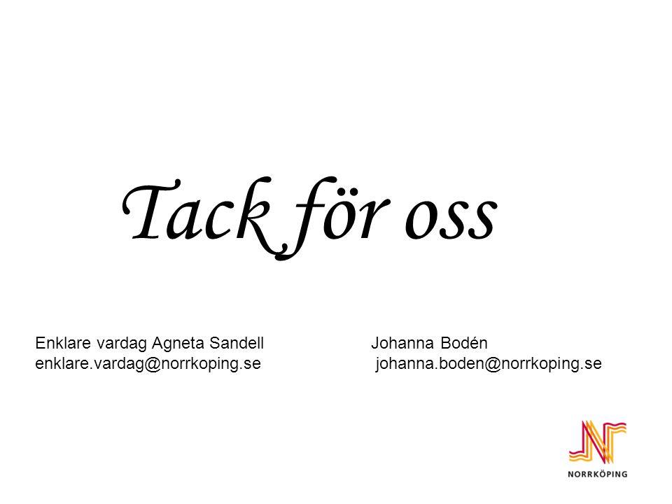 Tack för oss Enklare vardag Agneta SandellJohanna Bodén enklare.vardag@norrkoping.se johanna.boden@norrkoping.se