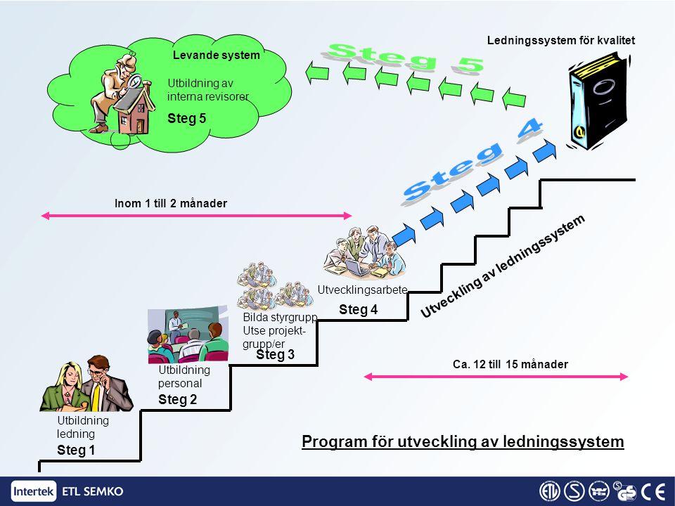 Steg 1 Utbildning av företags-/verksamhetsledning Vad är ett ledningssystem –Varför ska vi ha ett ledningssystem Organisation, resurser Mål Strategier –Processinriktning Processteori –Verktyget ISO 9001:2000, PDCA-cykeln
