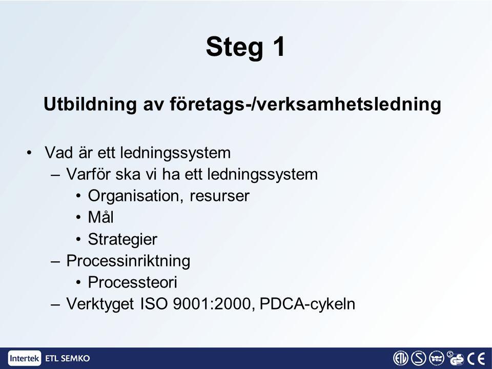 Steg 2 Utbildning av personal Vad är ett ledningssystem –Varför ska vi ha ett ledningssystem Organisation, resurser Mål Strategier –Processinriktning Processteori –Verktyget ISO 9001:2000, PDCA-cykeln