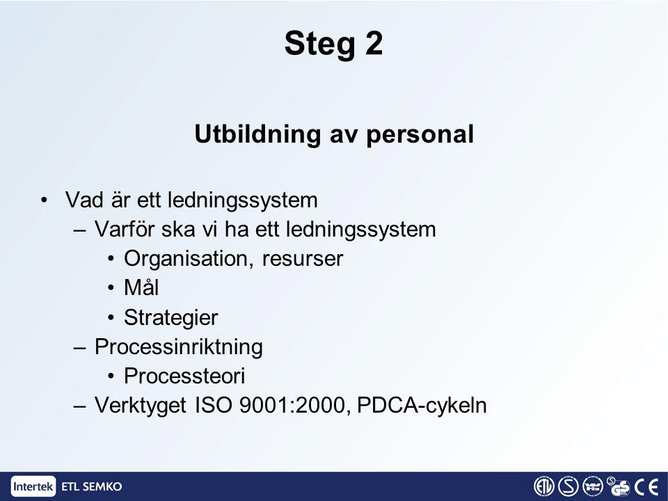 Steg 2 Utbildning av personal Vad är ett ledningssystem –Varför ska vi ha ett ledningssystem Organisation, resurser Mål Strategier –Processinriktning