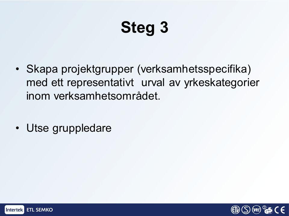 Steg 3 Skapa projektgrupper (verksamhetsspecifika) med ett representativt urval av yrkeskategorier inom verksamhetsområdet. Utse gruppledare