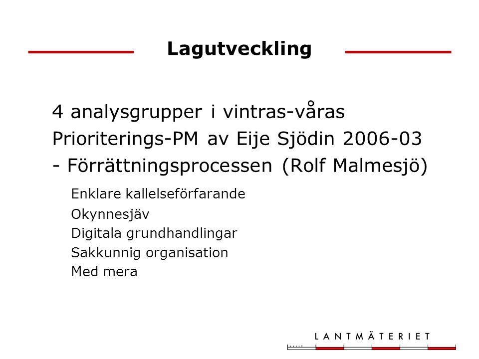 Lagutveckling 4 analysgrupper i vintras-våras Prioriterings-PM av Eije Sjödin 2006-03 - Förrättningsprocessen (Rolf Malmesjö) Enklare kallelseförfarande Okynnesjäv Digitala grundhandlingar Sakkunnig organisation Med mera