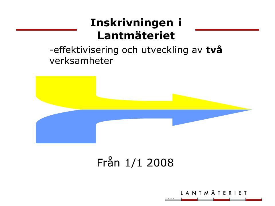 Inskrivningen i Lantmäteriet -effektivisering och utveckling av två verksamheter Från 1/1 2008