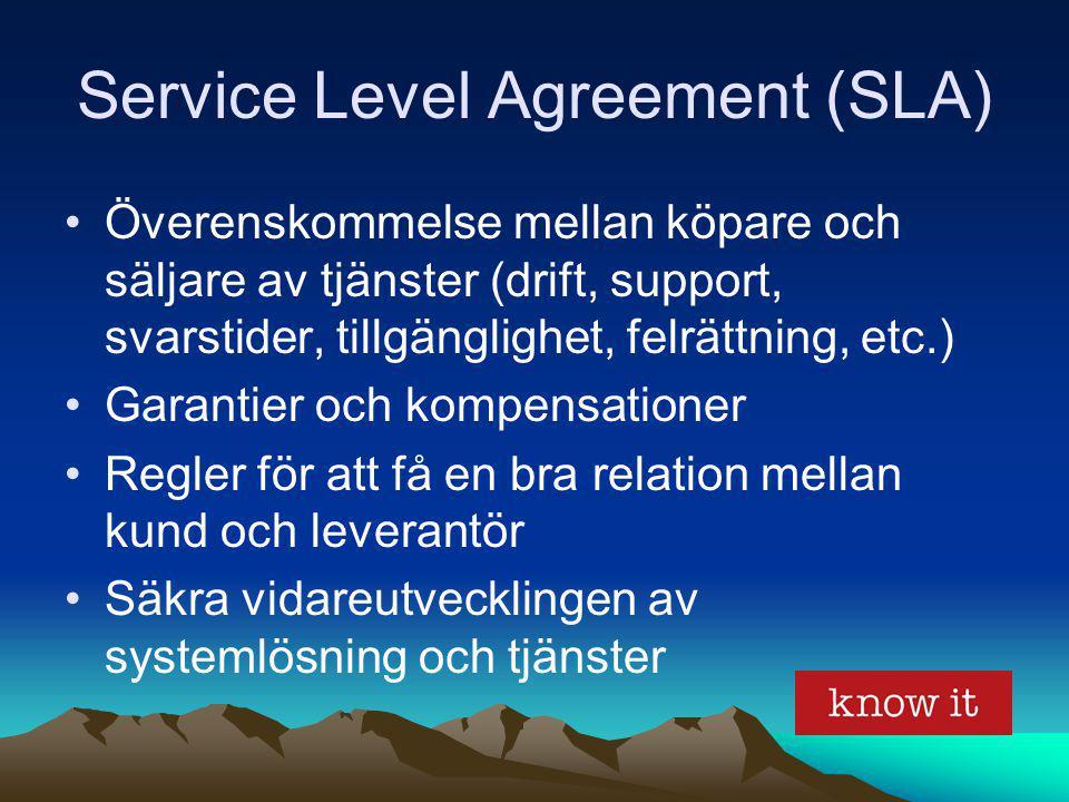 Service Level Agreement (SLA) Överenskommelse mellan köpare och säljare av tjänster (drift, support, svarstider, tillgänglighet, felrättning, etc.) Ga