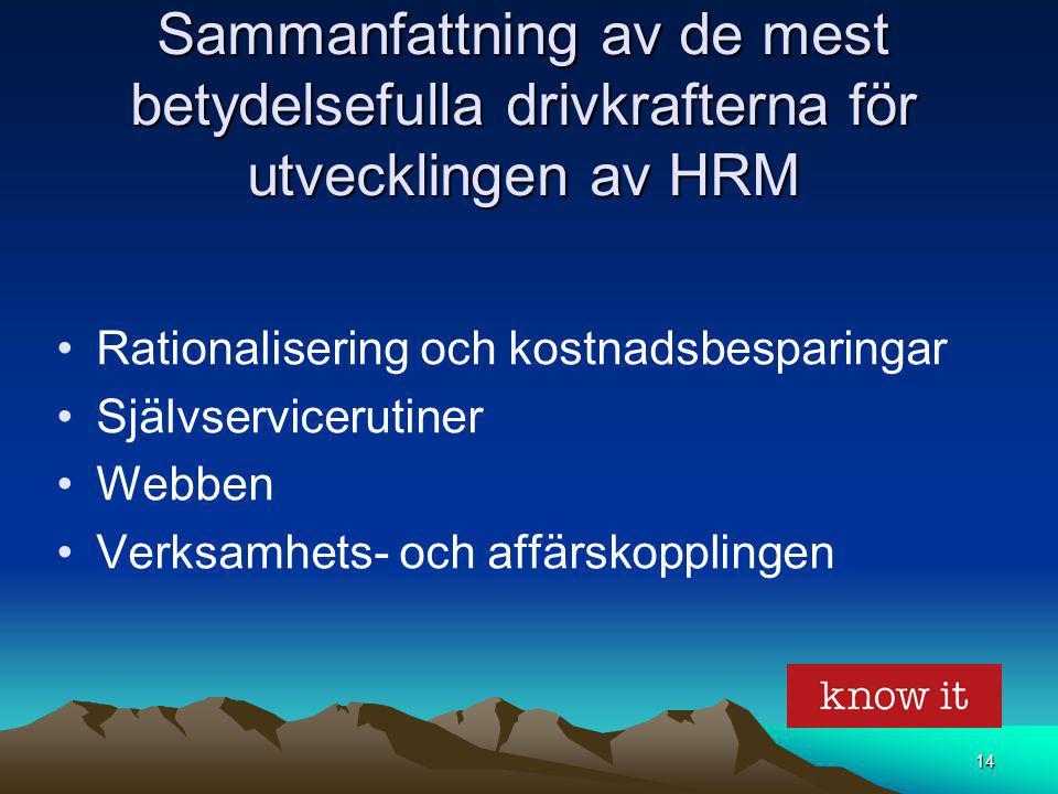 14 Sammanfattning av de mest betydelsefulla drivkrafterna för utvecklingen av HRM Rationalisering och kostnadsbesparingar Självservicerutiner Webben V