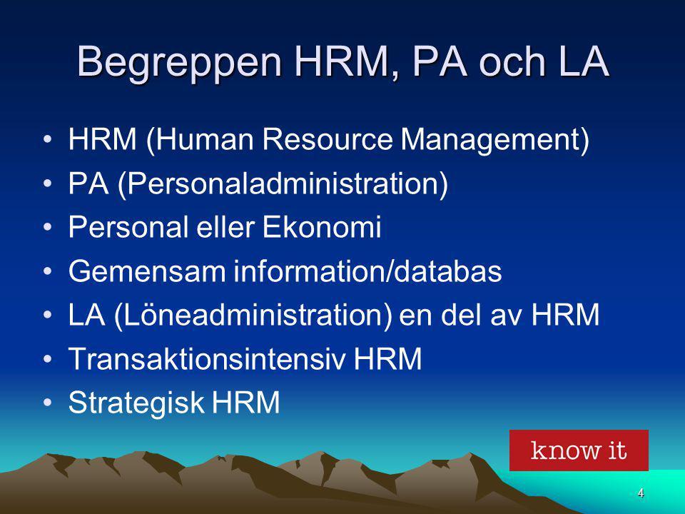 4 Begreppen HRM, PA och LA HRM (Human Resource Management) PA (Personaladministration) Personal eller Ekonomi Gemensam information/databas LA (Löneadm