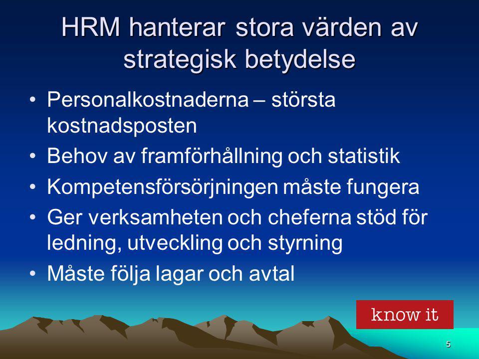 5 HRM hanterar stora värden av strategisk betydelse Personalkostnaderna – största kostnadsposten Behov av framförhållning och statistik Kompetensförsö