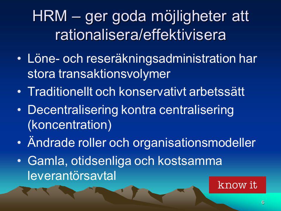 6 HRM – ger goda möjligheter att rationalisera/effektivisera Löne- och reseräkningsadministration har stora transaktionsvolymer Traditionellt och kons