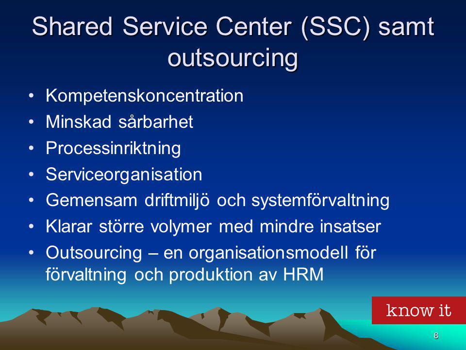 8 Shared Service Center (SSC) samt outsourcing Kompetenskoncentration Minskad sårbarhet Processinriktning Serviceorganisation Gemensam driftmiljö och