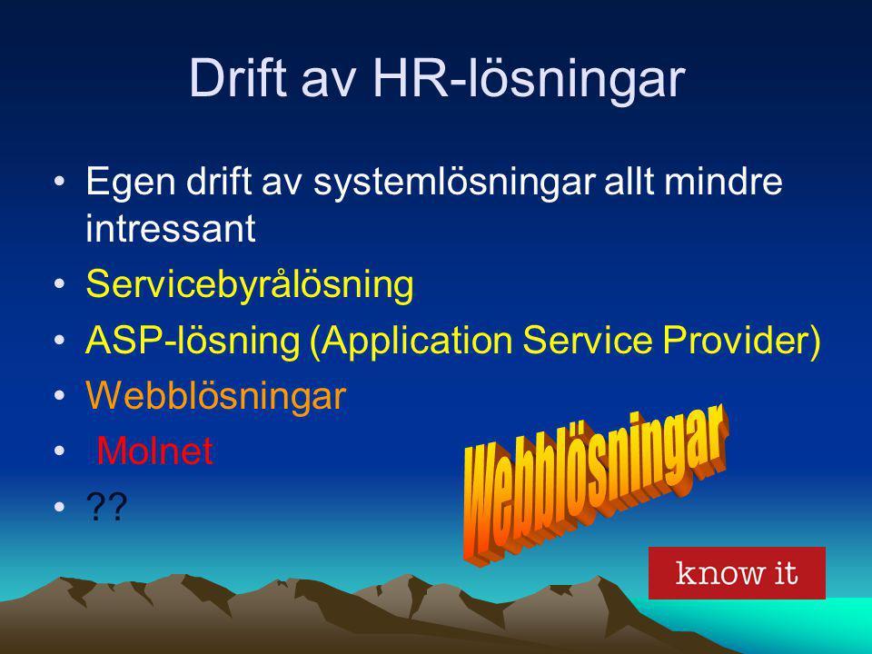Drift av HR-lösningar Egen drift av systemlösningar allt mindre intressant Servicebyrålösning ASP-lösning (Application Service Provider) Webblösningar