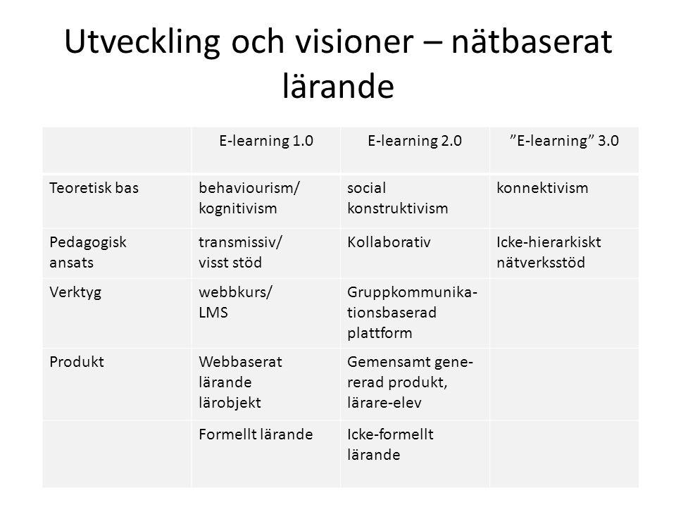 Utveckling och visioner – nätbaserat lärande E-learning 1.0E-learning 2.0 E-learning 3.0 Teoretisk basbehaviourism/ kognitivism social konstruktivism konnektivism Pedagogisk ansats transmissiv/ visst stöd KollaborativIcke-hierarkiskt nätverksstöd Verktygwebbkurs/ LMS Gruppkommunika- tionsbaserad plattform ProduktWebbaserat lärande lärobjekt Gemensamt gene- rerad produkt, lärare-elev Formellt lärandeIcke-formellt lärande
