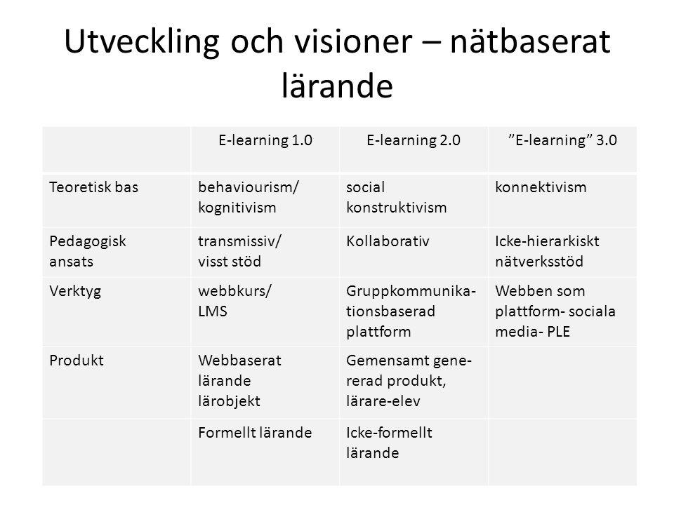 Utveckling och visioner – nätbaserat lärande E-learning 1.0E-learning 2.0 E-learning 3.0 Teoretisk basbehaviourism/ kognitivism social konstruktivism konnektivism Pedagogisk ansats transmissiv/ visst stöd KollaborativIcke-hierarkiskt nätverksstöd Verktygwebbkurs/ LMS Gruppkommunika- tionsbaserad plattform Webben som plattform- sociala media- PLE ProduktWebbaserat lärande lärobjekt Gemensamt gene- rerad produkt, lärare-elev Formellt lärandeIcke-formellt lärande